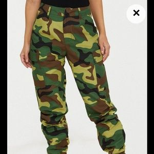 Prettylittlething camo cargo jogger pants